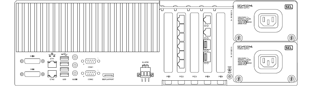 SEL-3555 Rear Panel