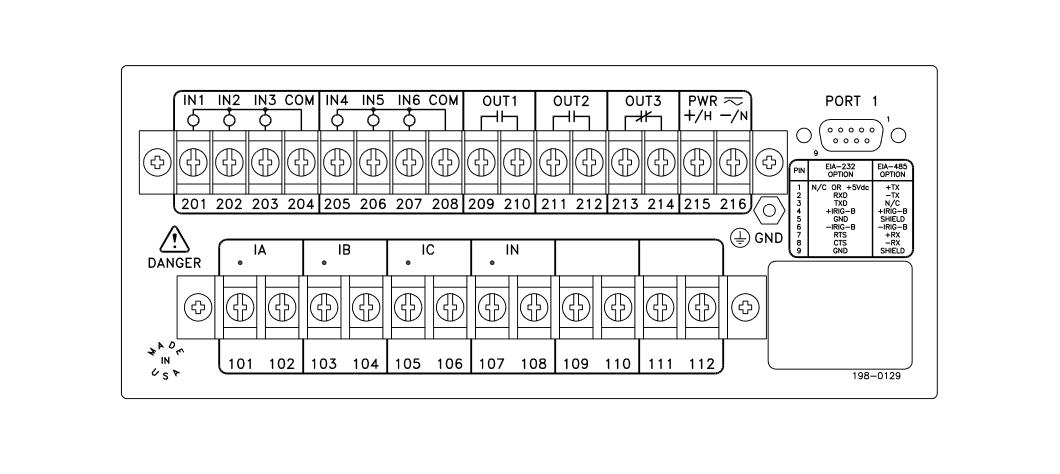 SEL-551C Rear Panel